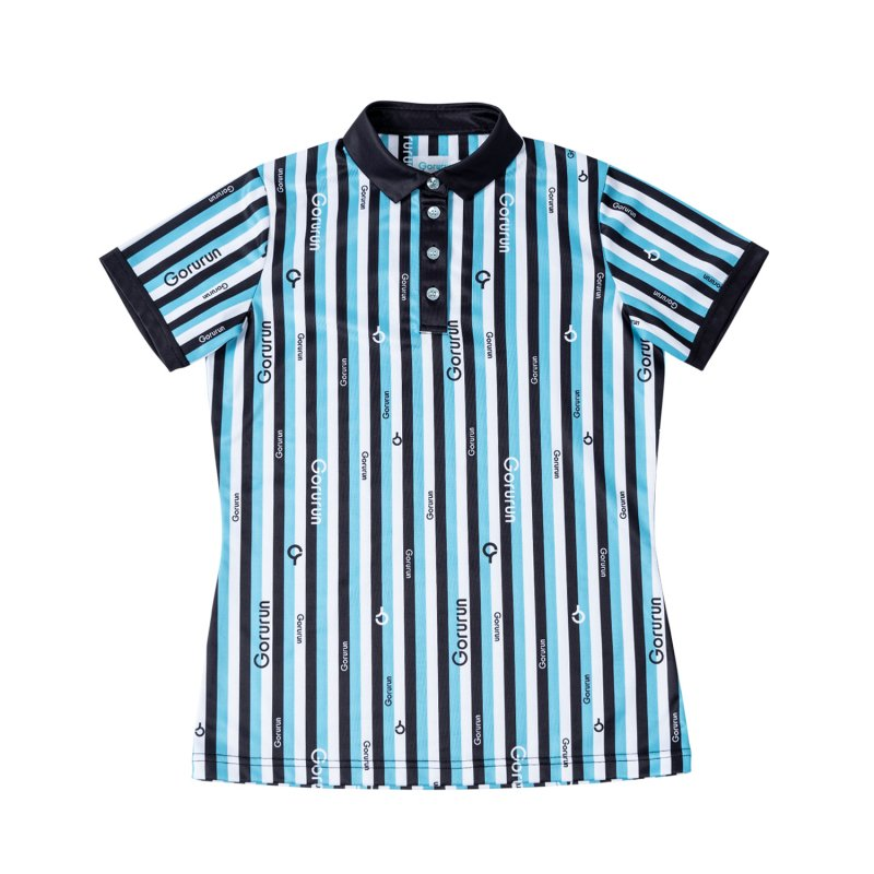 【レディース】Gorurun クールストライプ カラー ポロシャツ / ごるらんブルー
