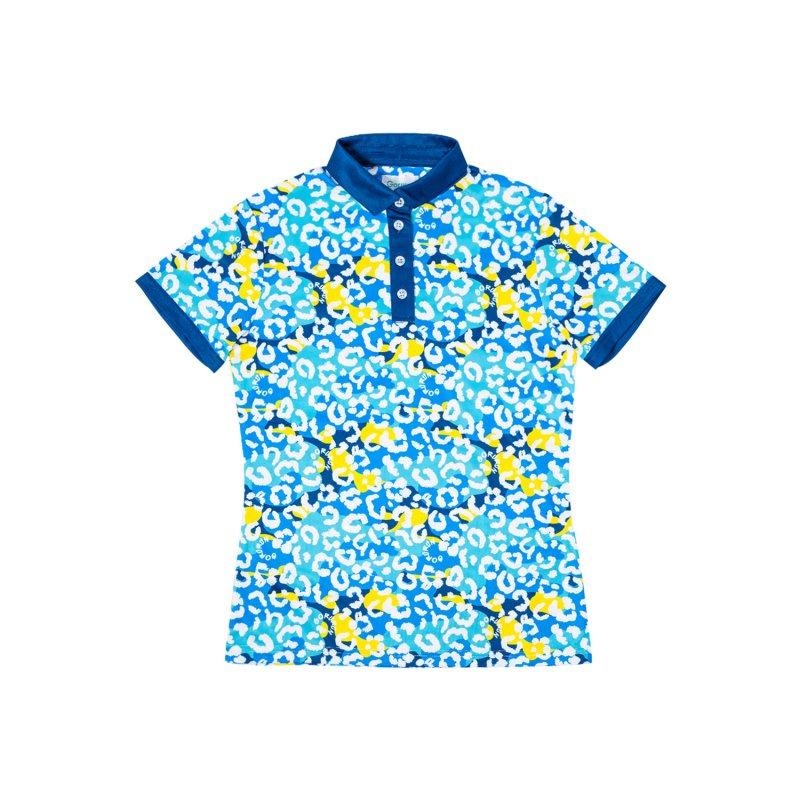 【レディース】Gorurun ネオパード ポロシャツ / ブルー