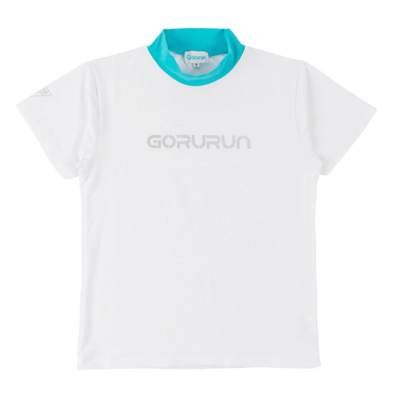 Gorurun シルバーロゴプリント配色モックネックT / ホワイト