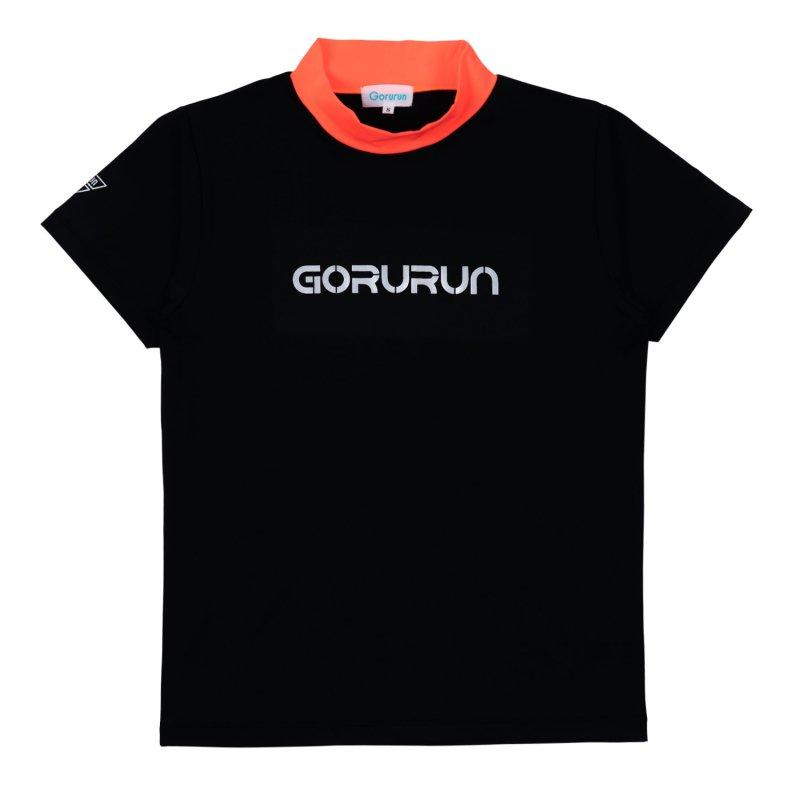 Gorurun シルバーロゴプリント配色モックネックT / ブラック