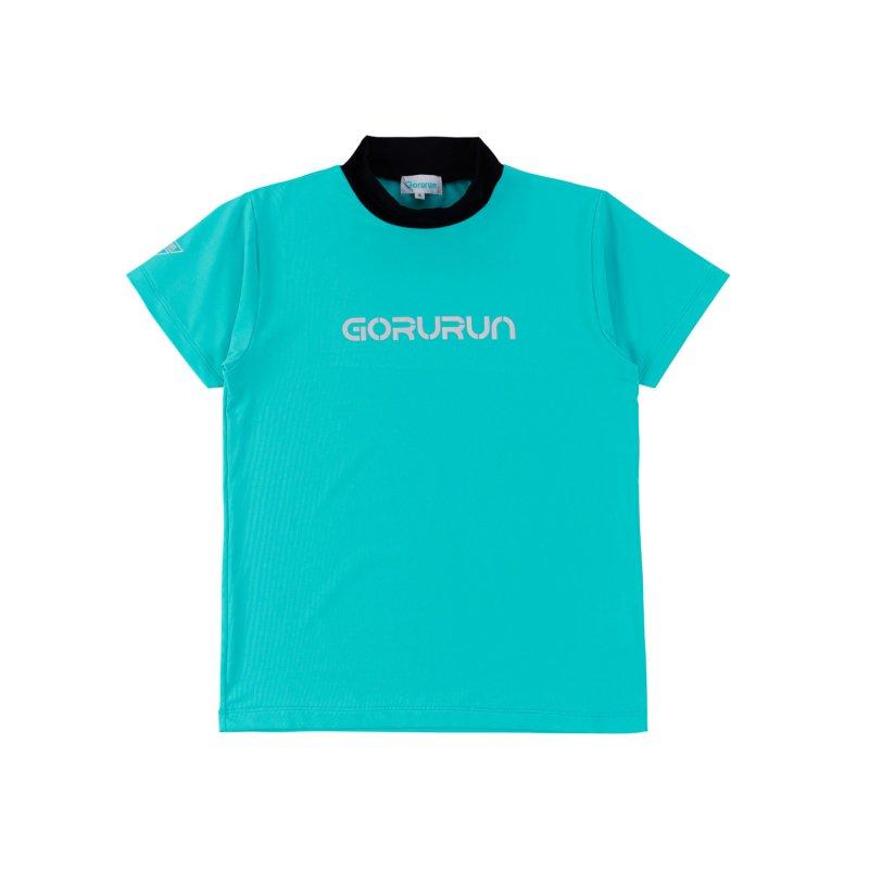 【レディース】Gorurun シルバーロゴプリント配色モックネックT / ごるらんブルー