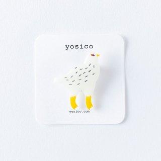 yosico イラストブローチ ライチョウ冬
