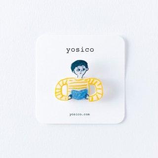 yosico イラストブローチ 本を読む