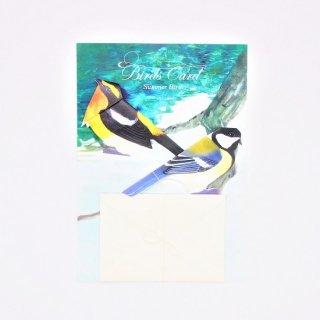 BIRD CARD 夏鳥 キビタキ&シジュウカラ