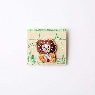 阿猫菜市場 刺繍ブローチ Frizzy Lion
