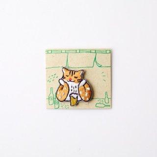 阿猫菜市場 刺繍ブローチ Leopard Cat