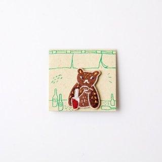 阿猫菜市場 刺繍ブローチ Leopard