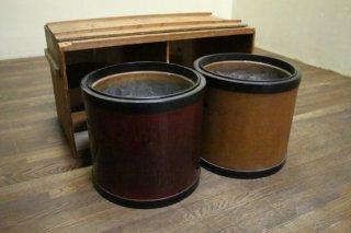 供箱入り塗りの丸火鉢セット 落款入り 昭和初期 古録展  送料別  D サイズ 中古 品番K12873