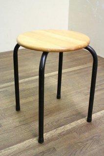 鉄脚木製座面の丸椅子 昭和後期 14脚在庫 店舗什器にどうぞ 古録展  送料別    Dサイズ 中古 品番I622