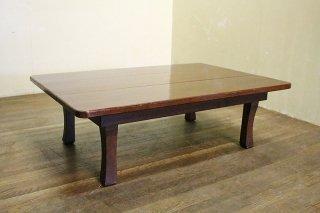 重量ある折り畳みローテーブル 天板隙間あり 昭和中期 古録展  送料別  Fサイズ 中古 品番F2887