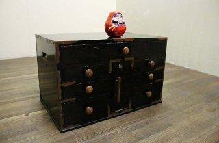 黒ペイントのレトロな引き出し収納 昭和20-30年代 古録展  送料別  Dサイズ 中古 品番S8145