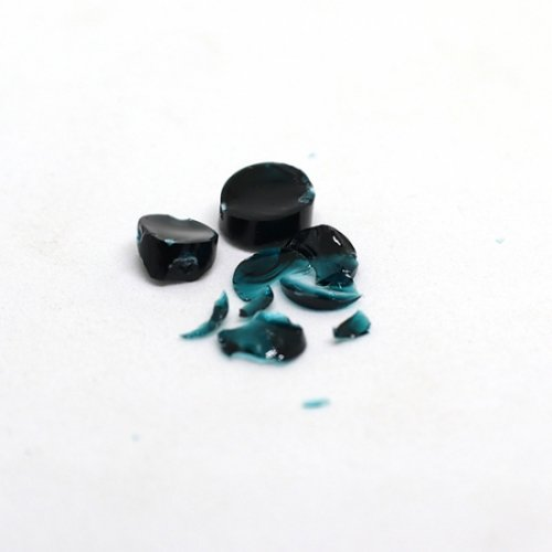 【CS12-b2】ガラスロッド(クリア濃青緑アルカリシリケートガラス)100g