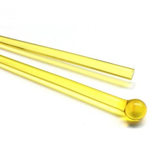 【C16-y】ガラスロッド(クリア黄アルカリシリケートガラス)100g