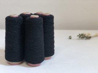 尾州の織糸 ウール糸 漆黒ネップ #OV2 太さ1/3.8 100g 織り糸 編み物 縫製 手縫い 素材 グラン オリジナル g3820-OV2