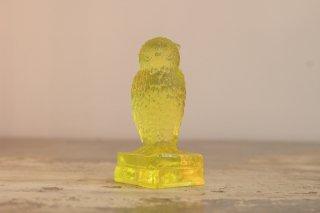 VINTAGE DEGENHART GLASS OWL ON BOOKS FIGURINE