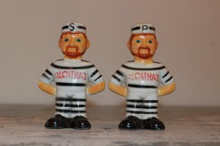 VINTAGE ALCATRAZ PRISONER SALT AND PEPPER SHAKERS