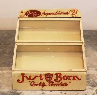 JUST BORN CHOCOLATE CANDY COMPANY DISPLAY CASE 1930's-40's
