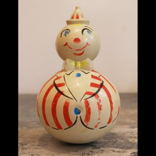 VINTAGE HARD PLASTIC CLOWN ROLY-POLY TOY 1950's-60's