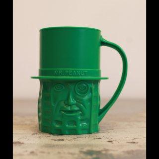 VINTAGE Mr.PEANUT PLASTIC CUP GREEN 1960's