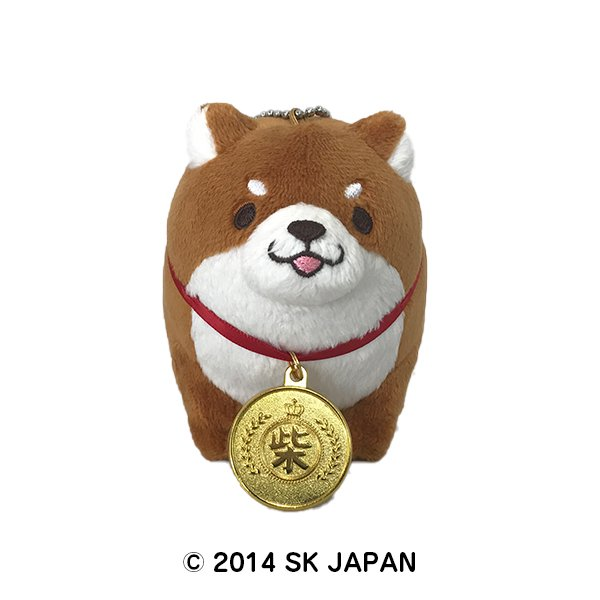 忠犬もちしば ぬいぐるみ ボールチェーンおすわり【金メダル】(おかか)