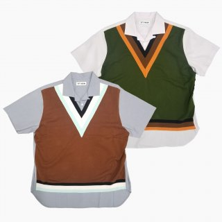 Knit vest docking shirt