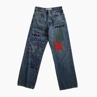 Leather Patch & Hand Paint Denim Pants