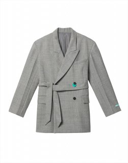 [25%OFF] Belted double-breasted wool-blend jacket