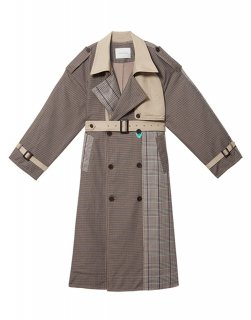 [韓国発送] 21SS Double-breasted check mix trench coat