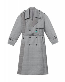 [韓国発送] 21SS Double-breasted puff-sleeve check mix trench coat