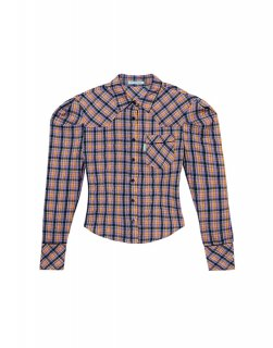 [韓国発送] 21SS Puff-sleeve checked western shirt