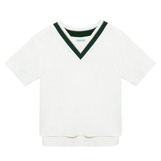[20%OFF][韓国発送]  21SS Ms Colour-stripe v-neck shirt