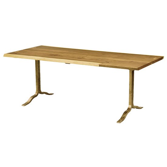【SQUARE ROOTS】SIVA PATCHWORK DINING TABLE /SMOKED OAK BRASS LEG