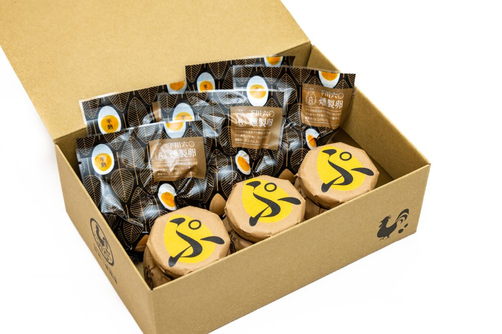 下川六〇燻製卵5個・あべ養鶏場のえっぐぷりん3個セット