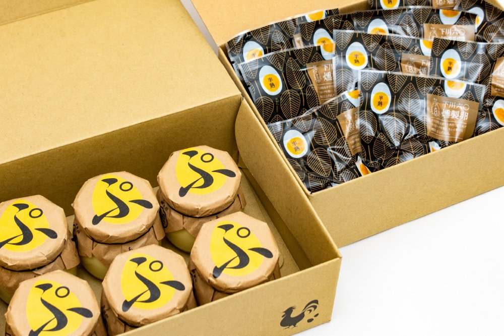 下川六〇燻製卵10個・あべ養鶏場のえっぐぷりん6個セット