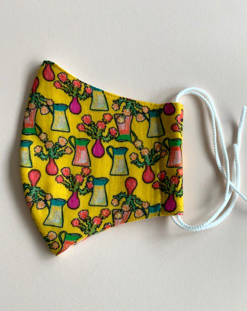 コットンガーゼマスク Flower vase xs small yellow