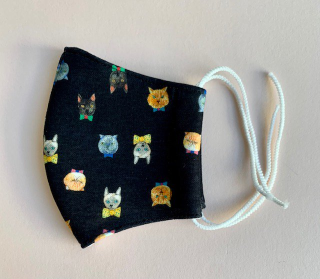 スエット素材マスク 小さめサイズ Bowtie cat smile black