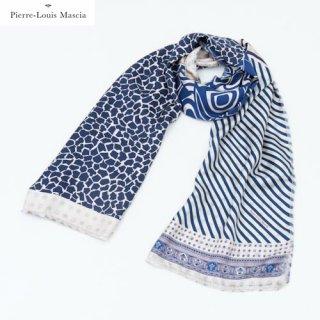 Pierre Louis Mascia(ピエールルイマシア) 65×190cm ブルー&ホワイト コットンシルクストール