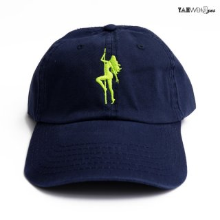 【メール便対応】YAHWEHS EYES STRAP BACK CAP【NAVY×NEON】【BIG POLE】