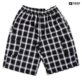 YAGO CHECK CARGO SHORTS【BLACK×WHITE】