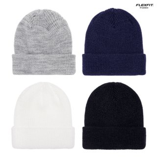 【メール便対応】FLEXFIT RIBBED CUFFED KNIT BEANIE【WHITE/BLACK/GRAY/NAVY】