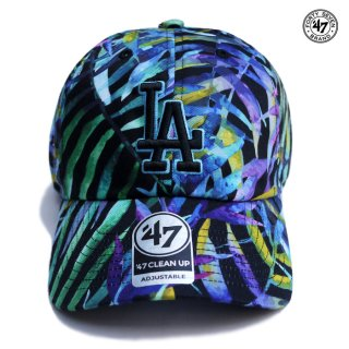 【メール便対応】47 BRAND CLEAN UP CAP LOS ANGELES DODGERS【BLACK×AQUA】