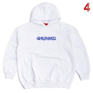 【送料無料】4 HUNNID PAISLEY HOODIE【WHITE×BLUE】