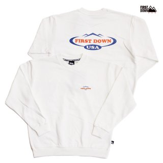 【送料無料】FIRST DOWN PRINT CREW SWEAT【OFF WHITE】