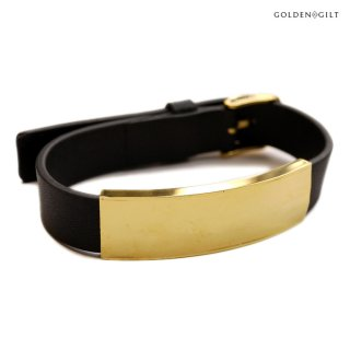 【送料無料】GOLDEN GILT LEATHER BRACELET【BLACK】