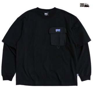 【送料無料】FIRST DOWN LAYERED L/S Tシャツ【BLACK】