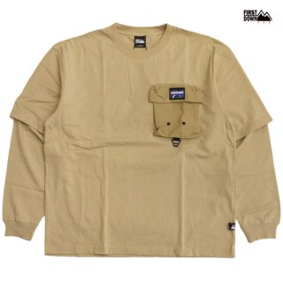 【送料無料】FIRST DOWN LAYERED L/S Tシャツ【BEIGE】