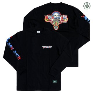 【送料無料】POT MEETS POP×CHEECH AND CHONG NICE DREAM PATCH L/S Tシャツ【BLACK】