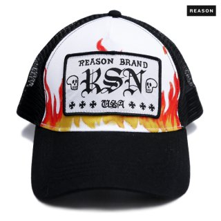 【送料無料】REASON CLOTHING FLAME MESH CAP【WHITE】
