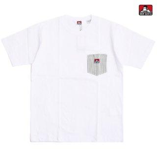【メール便対応】BEN DAVIS HICKORY POCKET Tシャツ【WHITE】