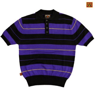 【送料無料】FB COUNTY CHARLIE BROWN POLO SHIRTS【BLACK×PURPLE】